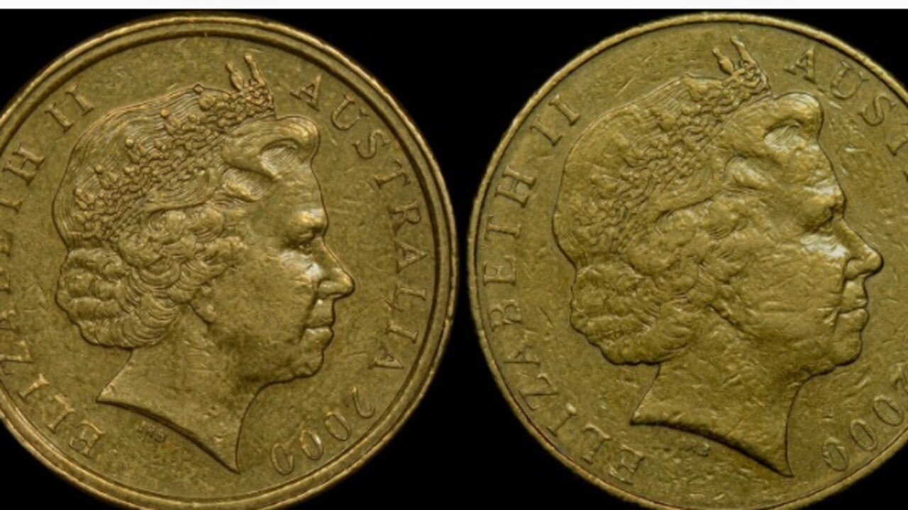 The mistake is on the left while the coin on the right is how the Queen should look on a $1 coin.
