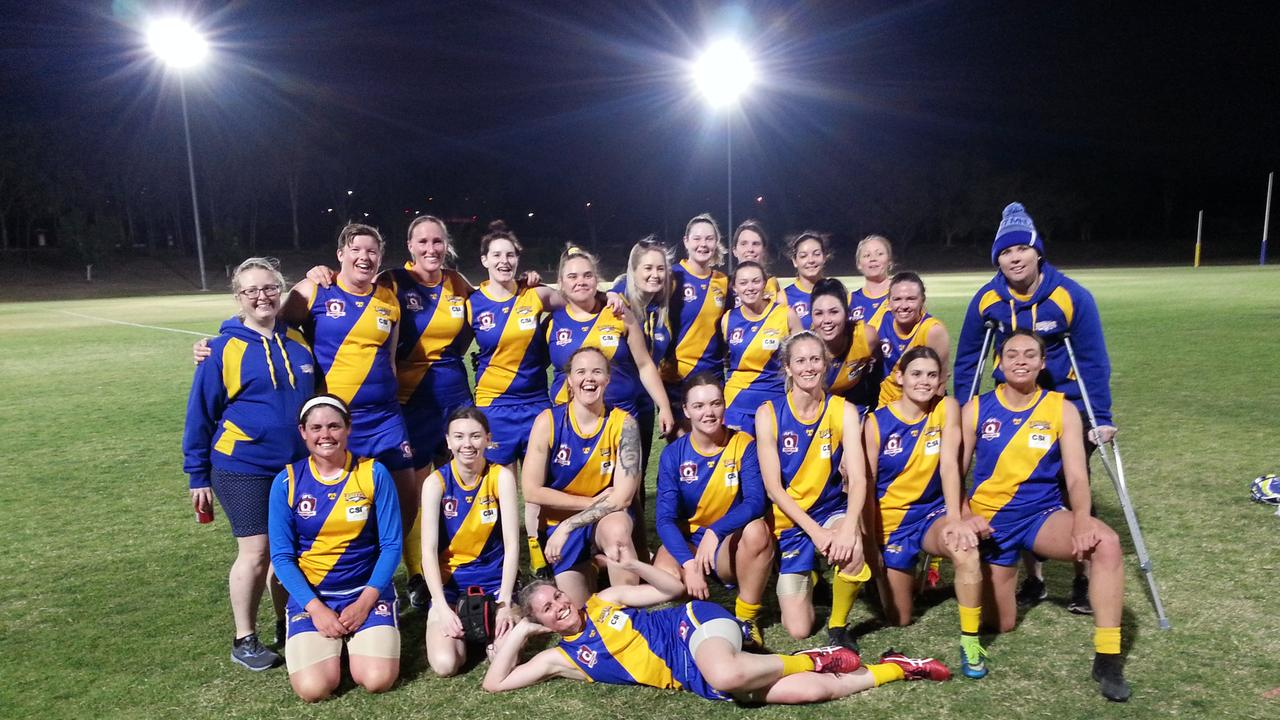 The Ipswich Eagles women's Aussie rules team that won the QFAW Division 2 North elimination final at Limestone Park. Picture: David Lems