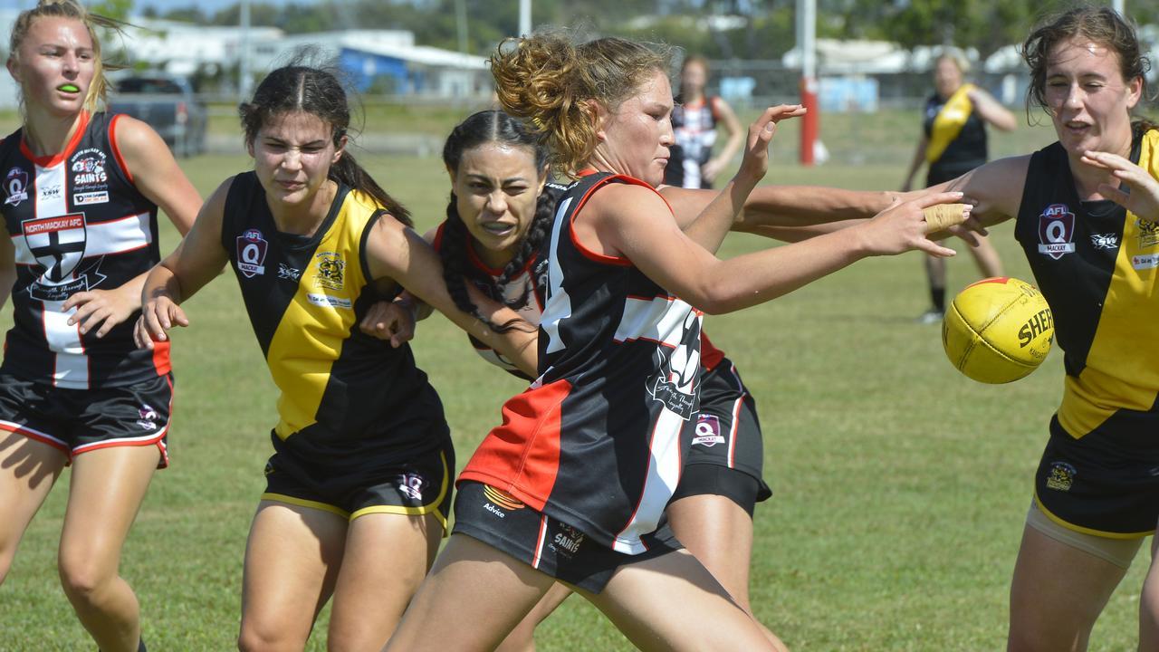 AFL Mackay Senior Women's competition - Bakers Creek Tigresses defeated North Mackay Saints 10.15-75 to 3.0-18 at Zeolla Park on Saturday. Saints player Alana Gee. Photo: Callum Dick