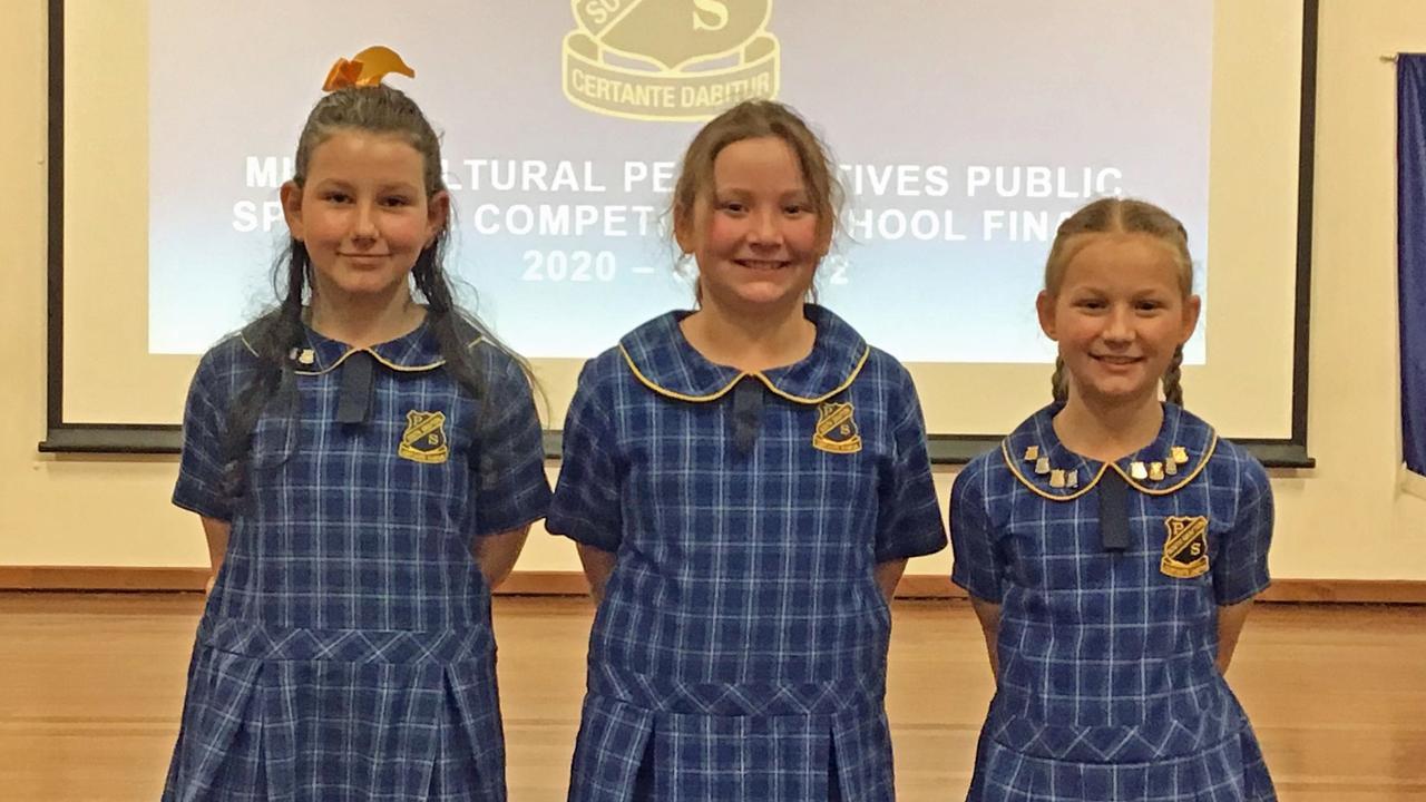 South Grafton Public School Stage 2 Premier's Multicultural Public Speaking final results – first: Layla Casbolt, second: Kaylen Bartkowski, third: Zoe Cameron.