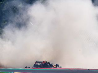 Red Bull's Max Verstappen crashes. (Photo by Claudio Giovannini / POOL / AFP)