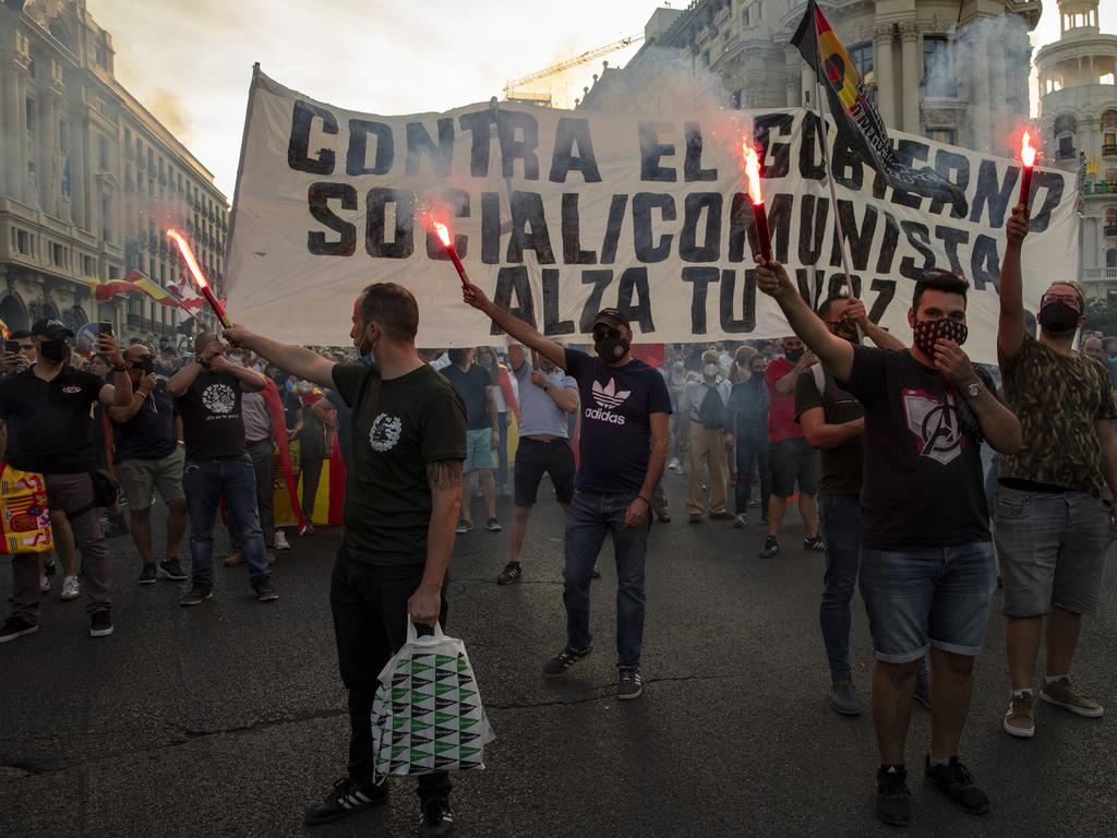 Protests in Madrid. Picture: Getty Images
