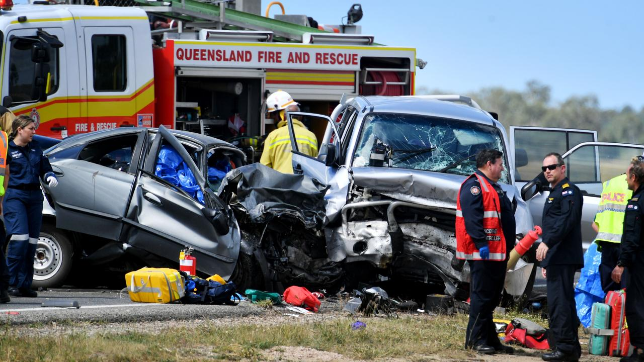 Emergency services attend a 3 person fatal crash involving four vehicles south of Townsville. Picture: Alix Sweeney