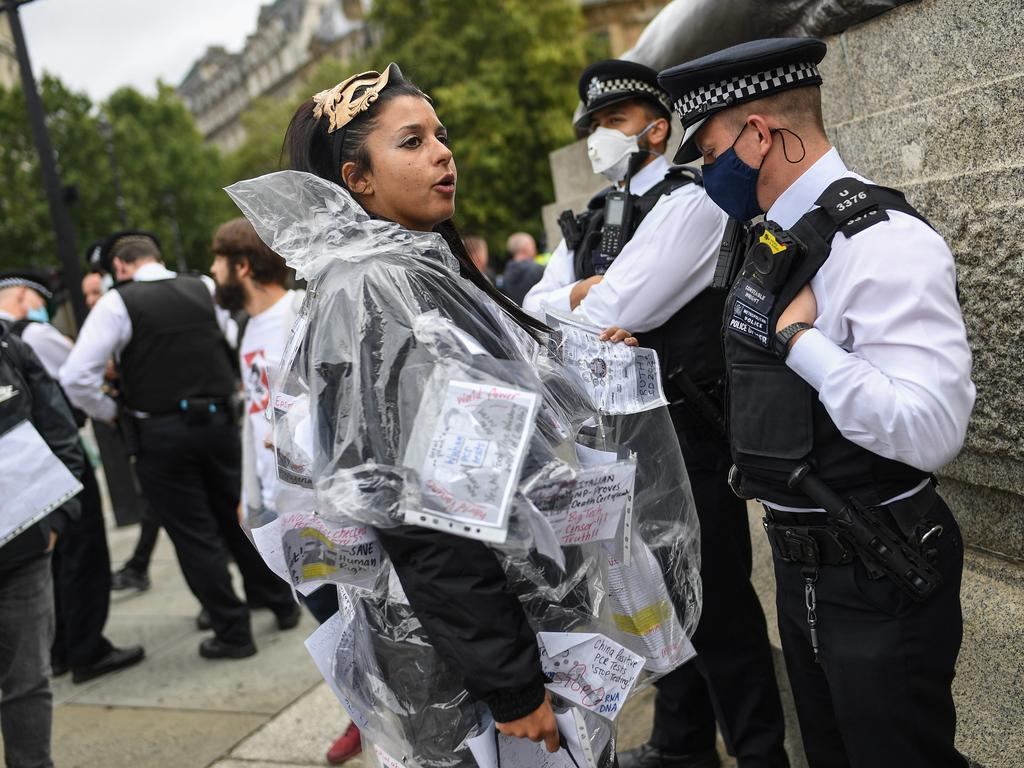 Anti-mask protesters at a march in London in August. Picture: Getty Images