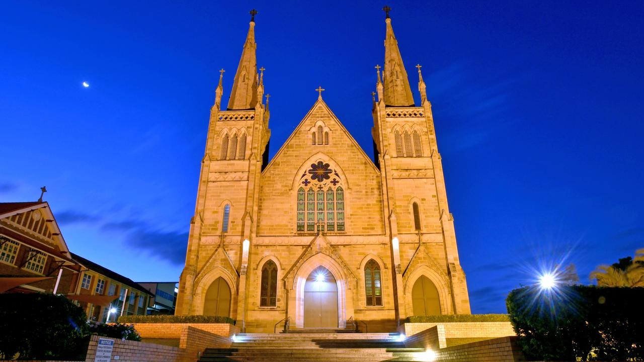 #Maroon Moment# The Ipswich St Mary's Catholic church all lit up at night. Saturday August 23, 2020. Picture, John Gass