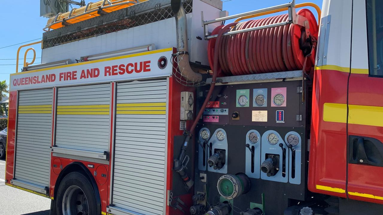 Firefighters tended to the blaze at Isis which destroyed an industrial shed.