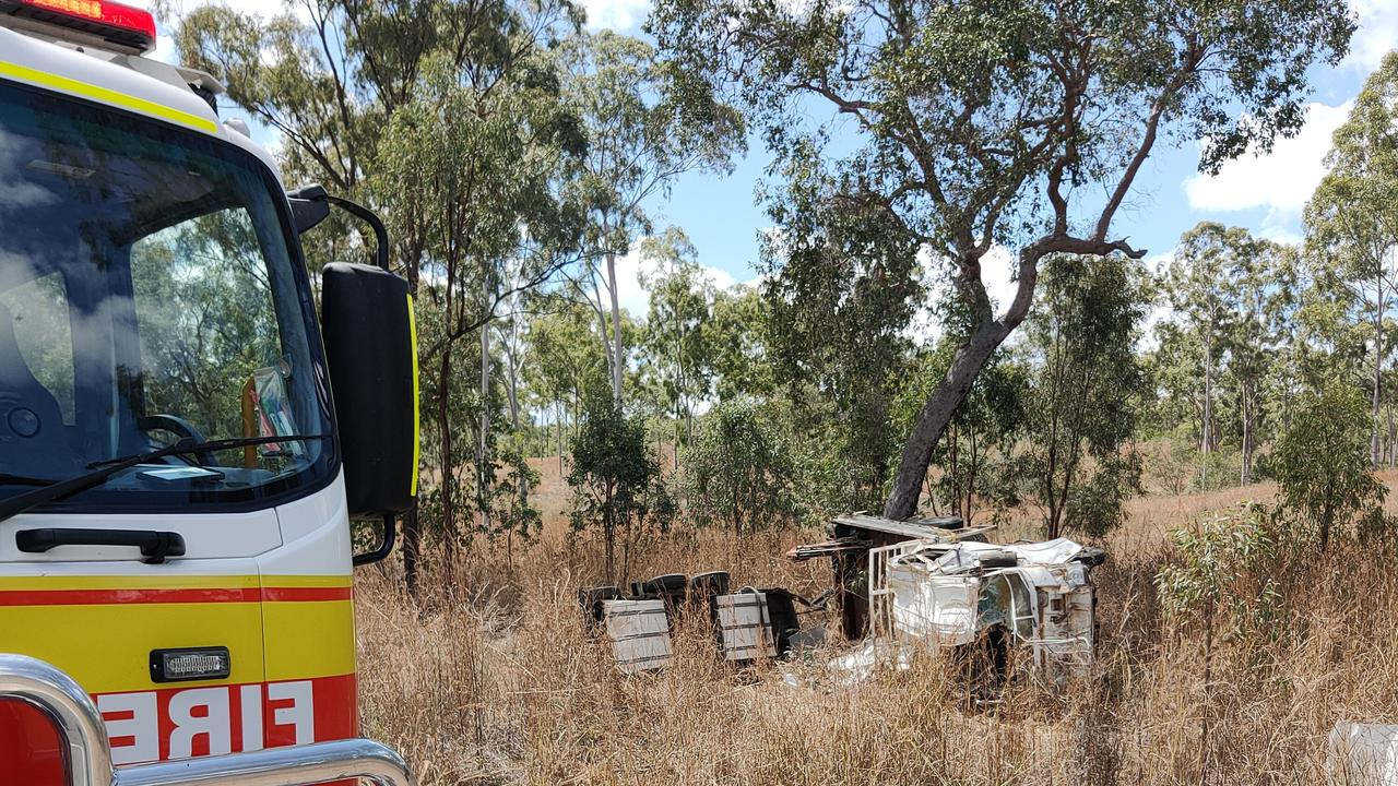 The scene of a truck rollover on Gladstone Monto Road on September 14. Picture: Rodney Stevens