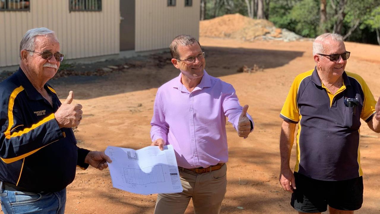 BUILDING UP THE FUTURE: Bundaberg Central Men's Shed president Col Lovejoy and vice-president John McCormack with Member for Bundaberg David Batt. Photo: Mikayla Haupt.