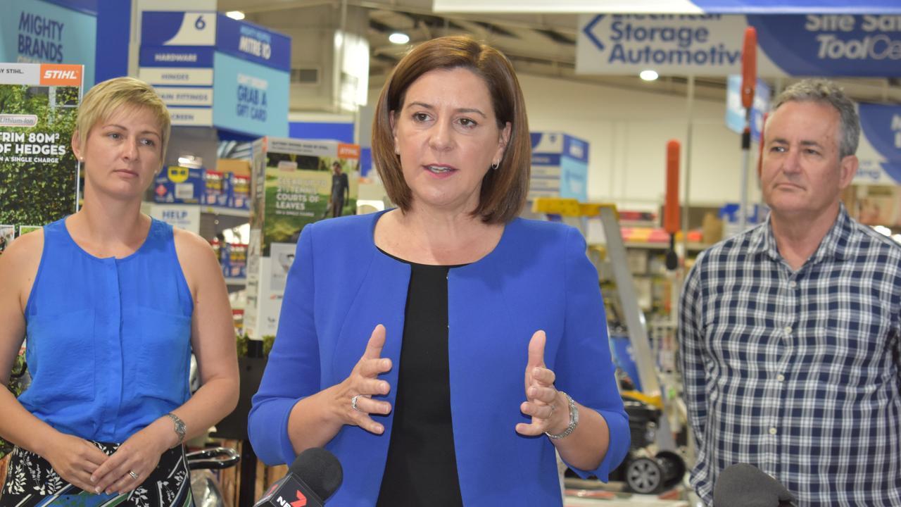 LNP Whitsunday candidate Amanda Camm, LNP Leader Deb Frecklington and Mackay candidate Chris Bonanno. Picture: Melanie Whiting