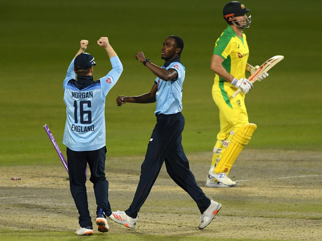 Jofra Archer celebrates after bowling Mitchell Marsh. Picture: Stu Forster/Getty Images