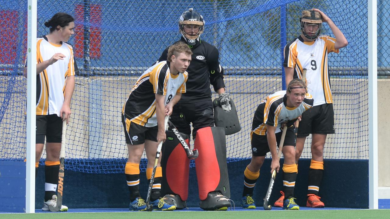 Capricornia's defence held firm as they scored two wins on the opening day of the Queensland secondary schoolboys hockey championships yesterday. Photo: Jann Houley