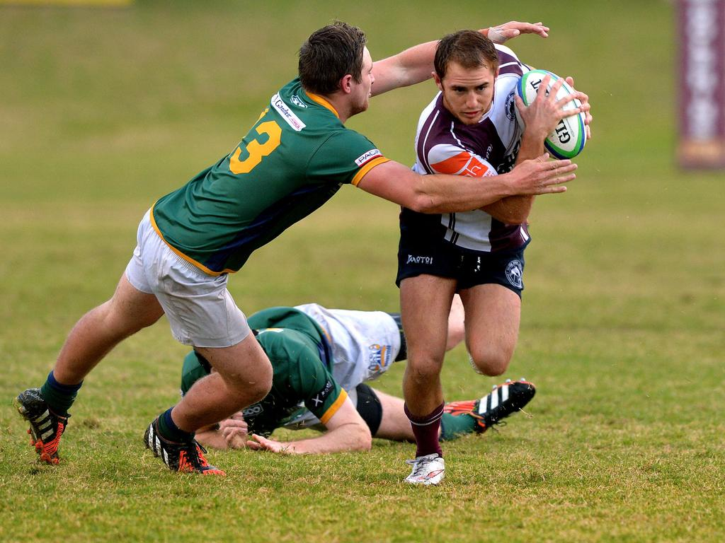 Noosa Dolphins playmaker Jarrad Postle weaves some magic against USC Barbarians back in 2015. He is still at his mercurial best