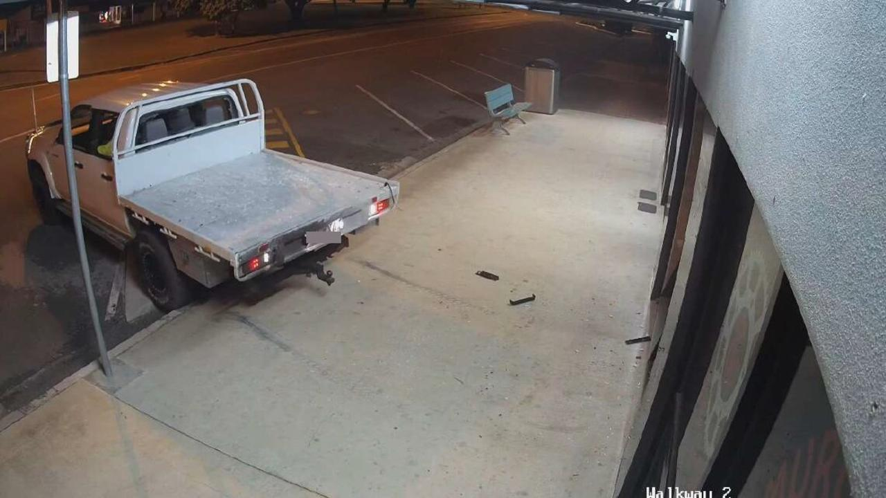 CCTV captured Jay Scott Burnett intentionally reversing his utility into his father's shop on Lamb Street. Photo/QPS.