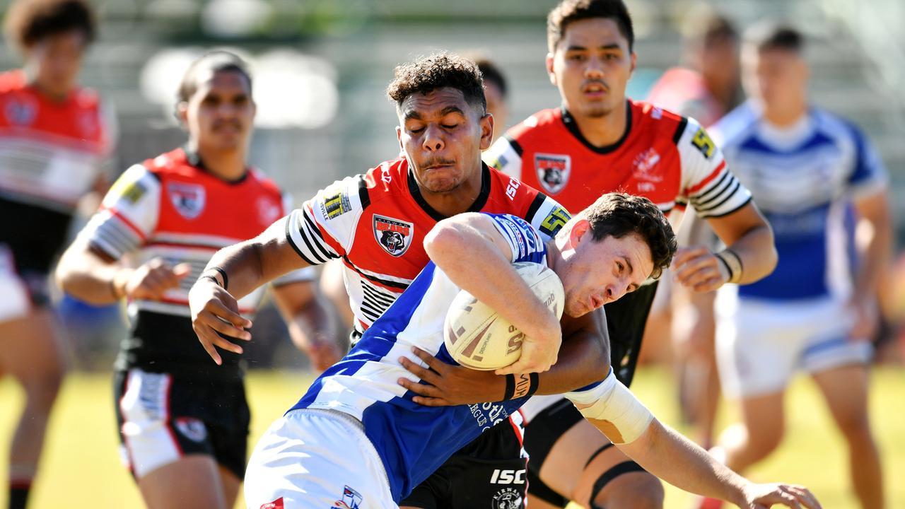 Aaron Payne Cup Final; Kirwan State High School Vs Ignatius Park College at Townsville JRL. Kirwan's Clay George and Iggy's Adam Mitchell. Picture: Alix Sweeney
