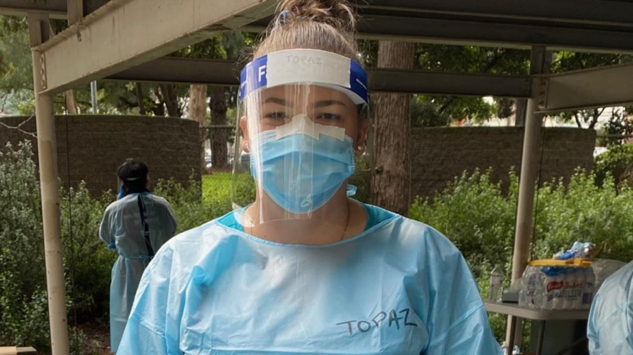 Gold Coast nurse Topaz Stringfellow on the frontline of the pandemic in Victoria.