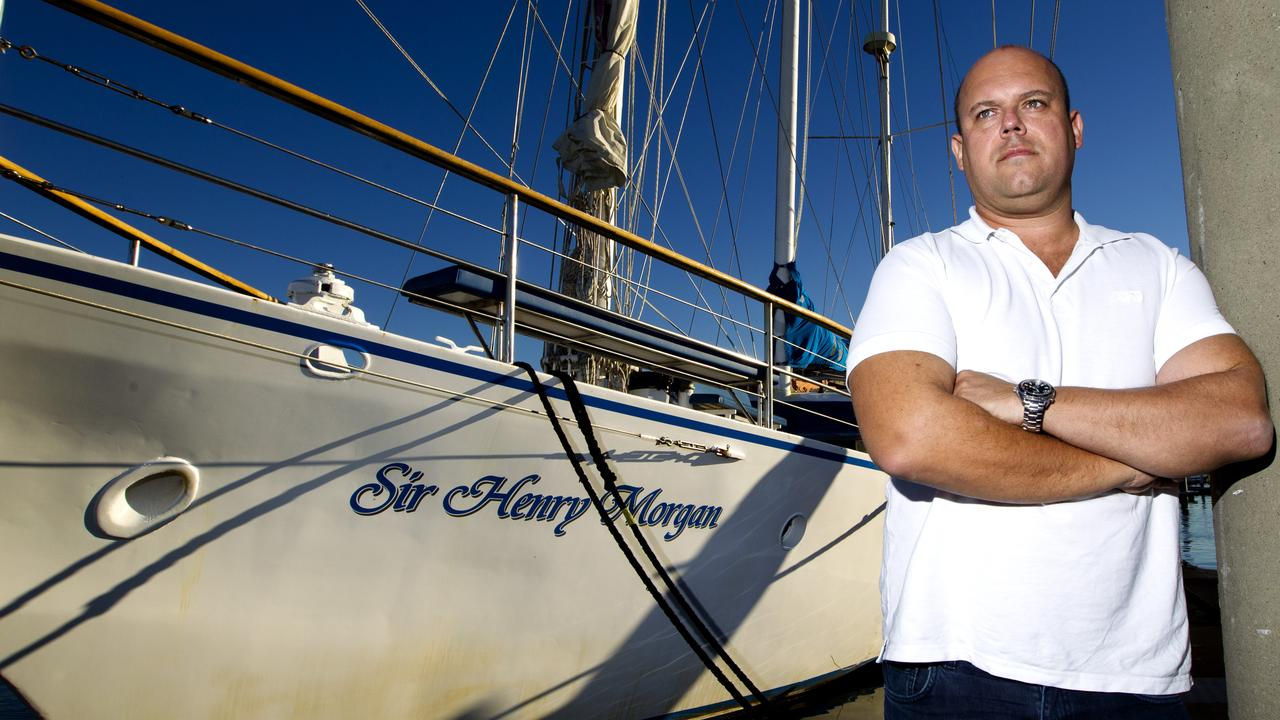 Jason Nicholls pictured with the Sir Henry Morgan yacht.