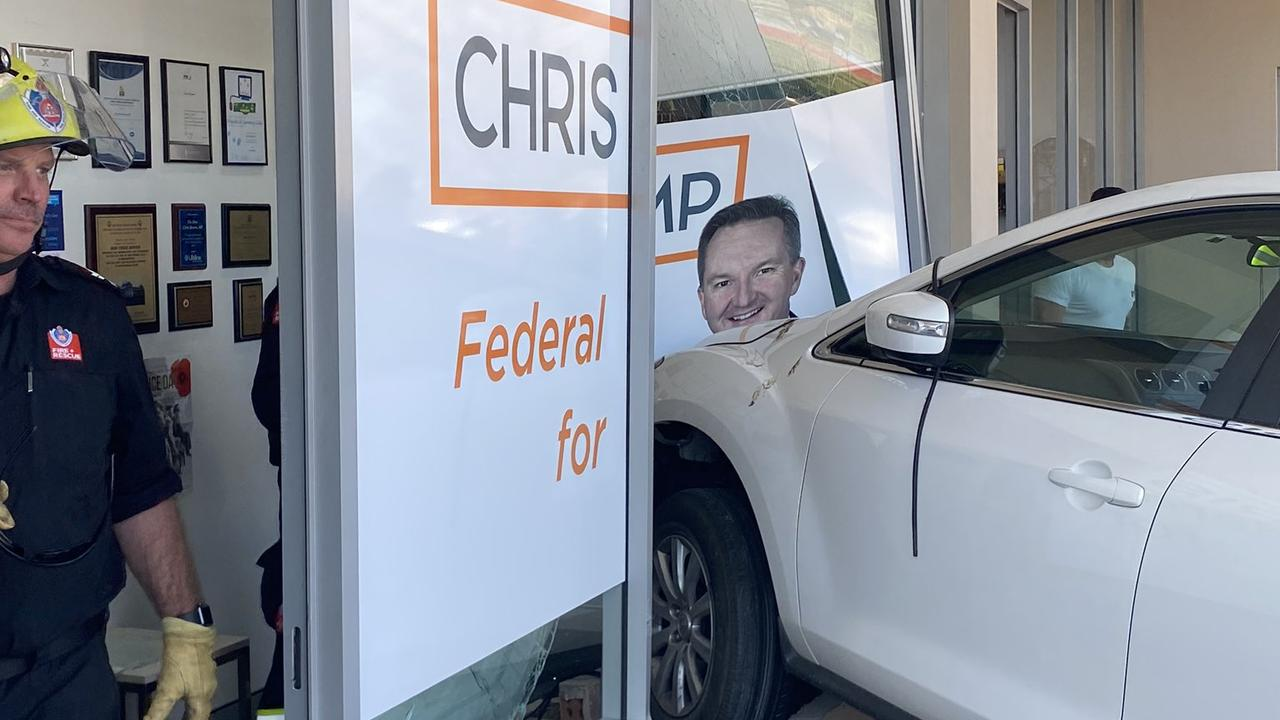 A woman accidentally crashed her car into Shadow Health Minister Chris Bowen's Fairfield office on Tuesday afternoon during a parking mishap. Picture: Chris Bowen MP/ Twitter