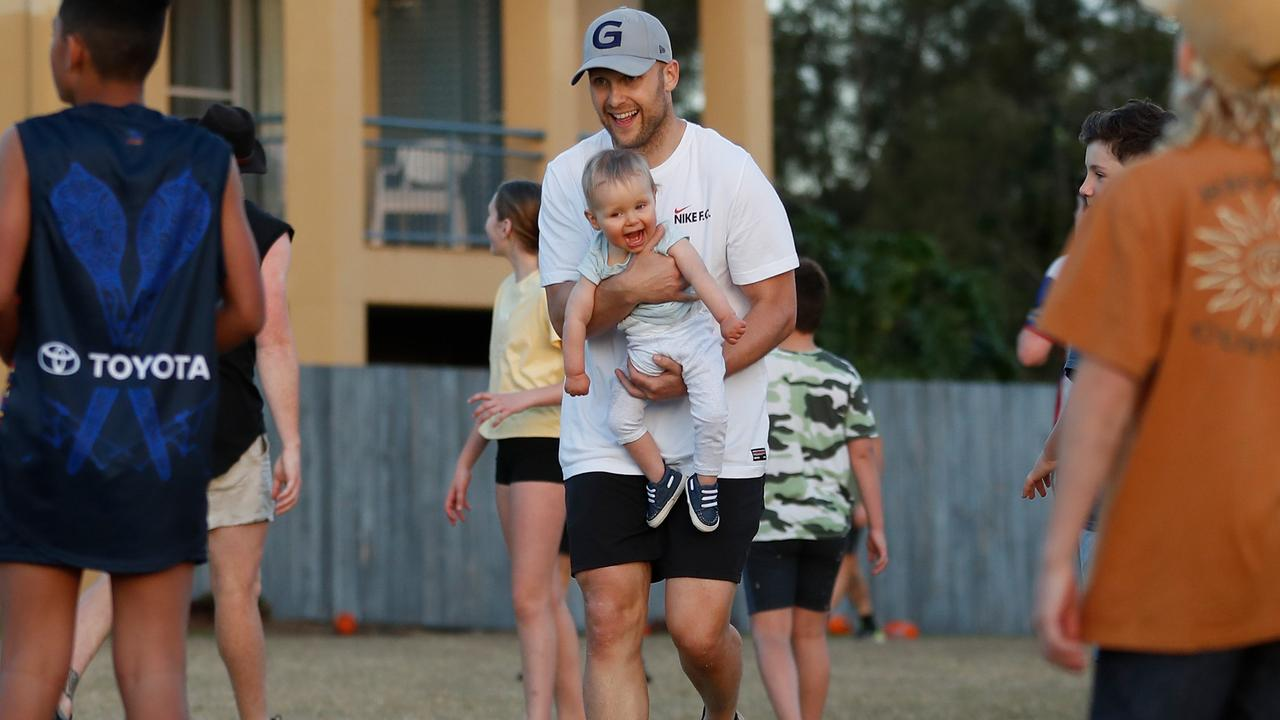 Gary Ablett with his son at training on Monday. Picture: AFL Photos