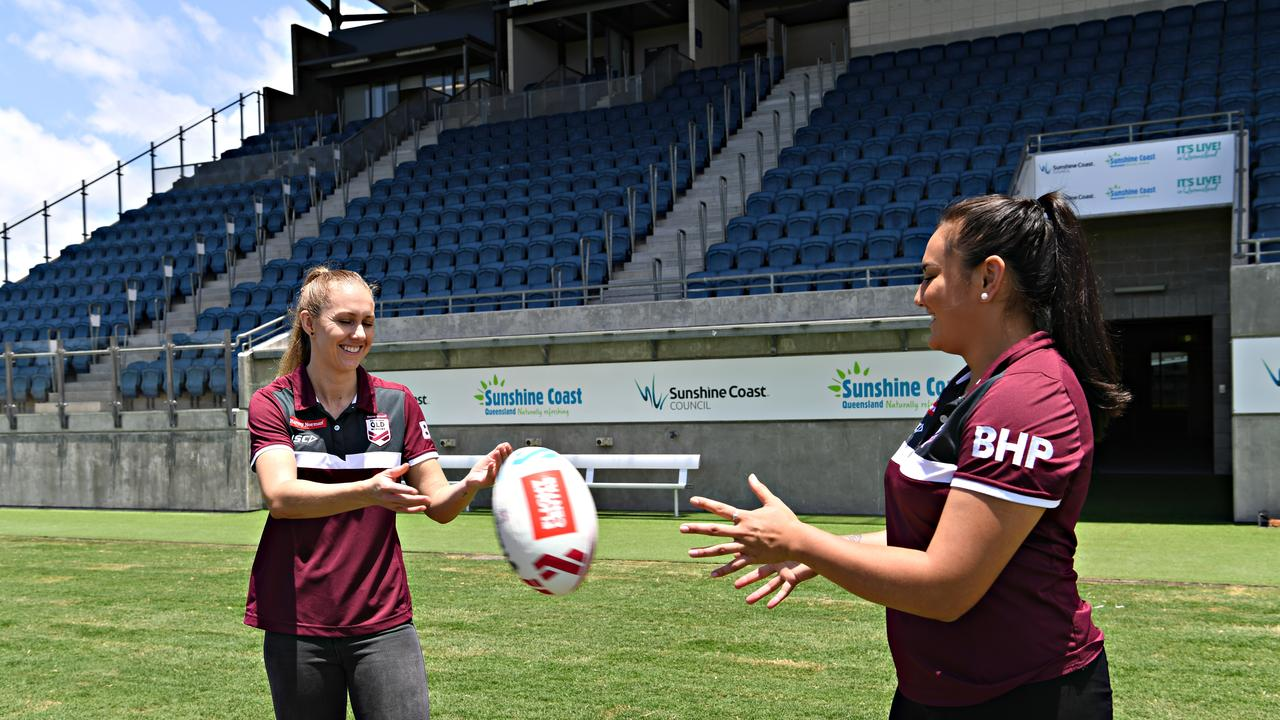 The Holden Women's State of Origin match will be held at the Sunshine Coast Stadium. Queensland players Karina Brown and Annette Brander at the Stadium last year. Picture: Warren Lynam