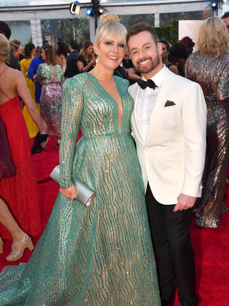 Grant Denyer (right) and his wife Cheryl (left) on the red carpet at the 2019 Logie Awards. Picture: AAP Image/Darren England