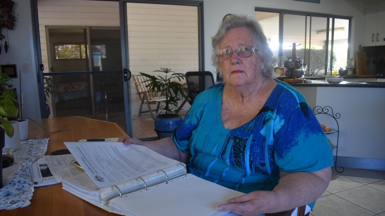 WIND FARM WORRY: Group co-ordinator Sue Natho, with her wind farm documents. Photo: Stuart Fast
