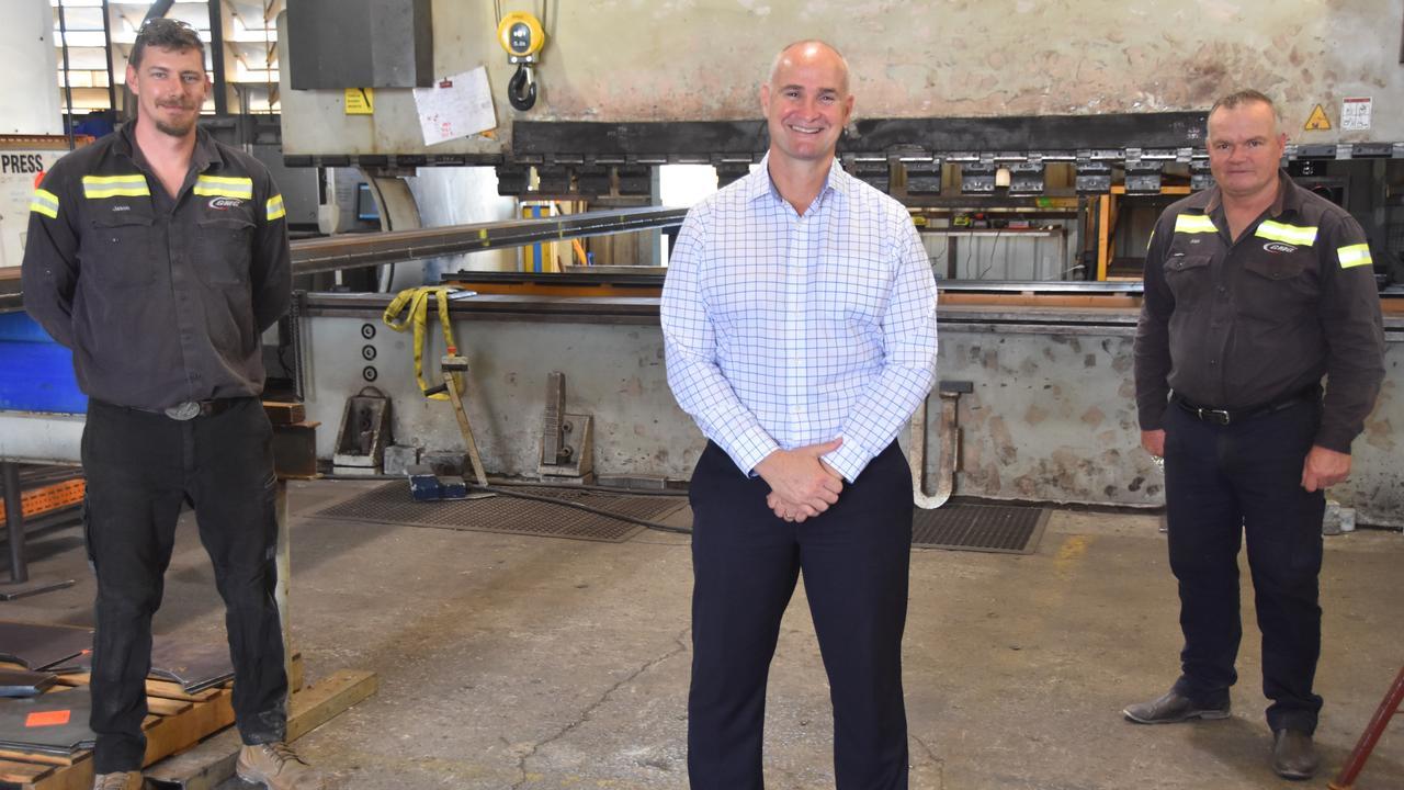 Global Manufacturing Group Production Manager Jason Koming, Member for Gladstone Glenn Butcher and General Manager and Director of Global Manufacturing Group Alan Watkin.