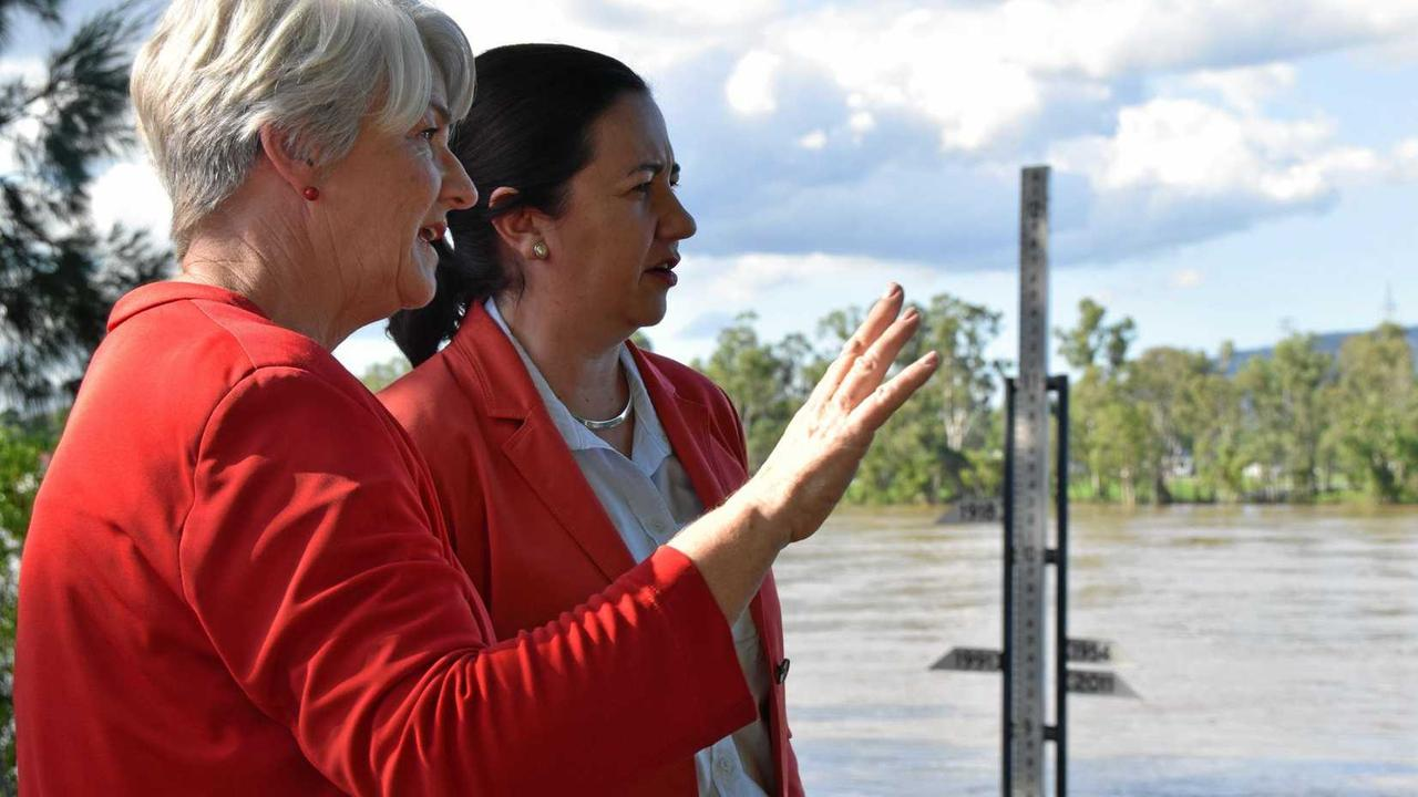 """FLOOD PRONE: Rockhampton mayor Margaret Strelow and Queensland Premier Annastacia Palaszczuk stand next to the flood marker during the last major Fitzroy River flood event in 2017. The Premier is on the record saying a flood levee for Rockhampton was a """"no-brainer""""."""