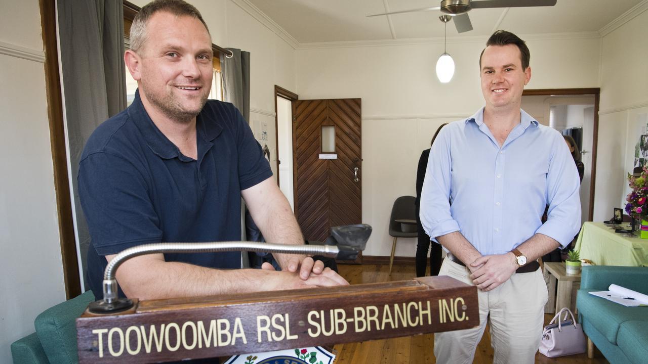 Toowoomba RSL Sub-Branch president Scott May and deputy president Sheldon Rogers.