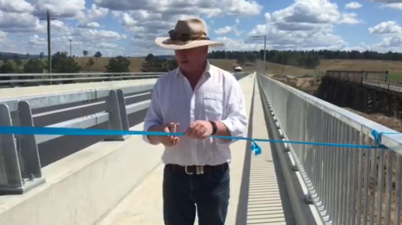 Barnaby Joyce on the new Tabulam bridge.