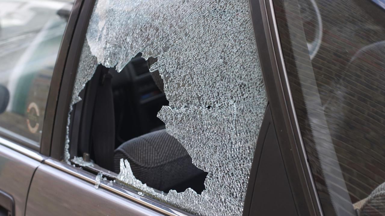 A young woman has been left shaken after a rock smashed her car window this afternoon.