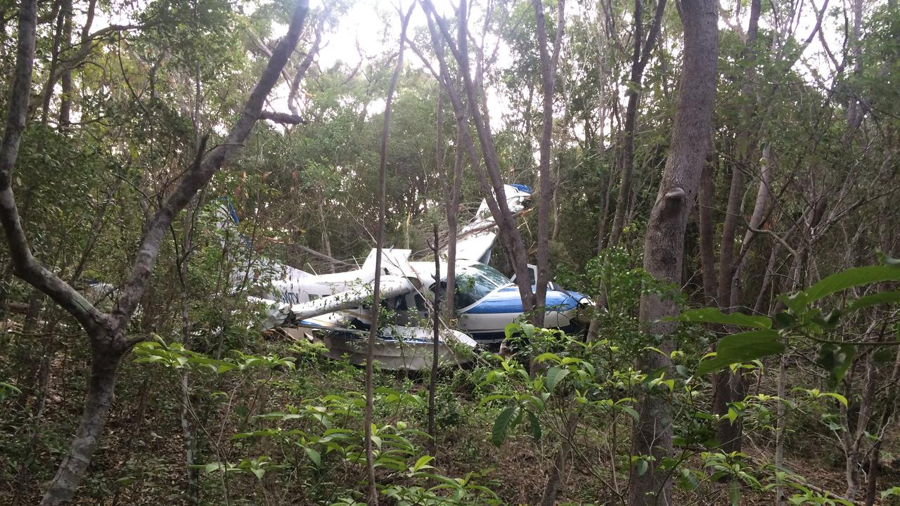 A Whitsunday Air Services aircraft that crash landed in the trees on Whitsunday Island near Chance Bay on January 28, 2016.