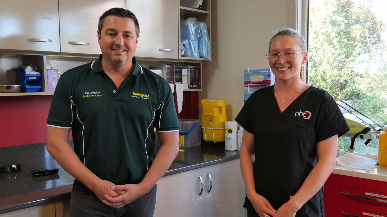 Federal Member for Cowper Pat Conaghan with Nambucca Healthcare Centre general practice nurse Isabella Besmehn.