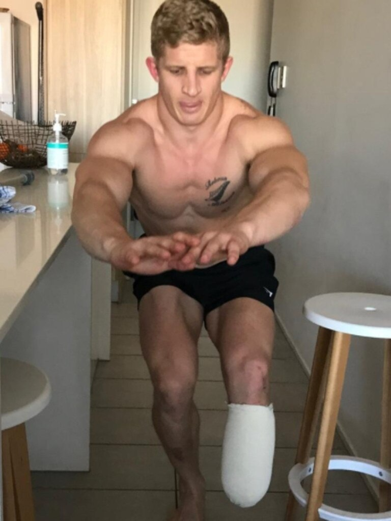Former Cowboys under-20s player Rogan Dean doing rehabilitation exercises