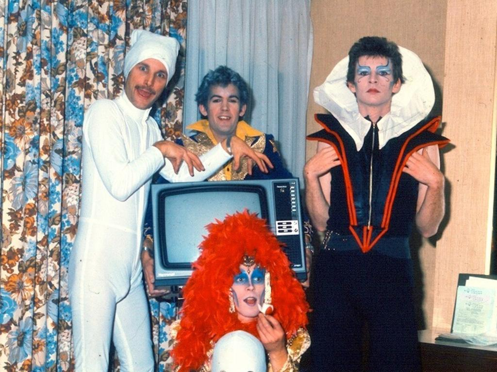 Australian band Skyhooks in early 1975. Red Symons in one of his garish outfits (right). Picture: Supplied by Bob Starkie