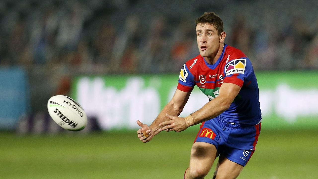 BRISBANE NEEDS YOU: Andrew McCullough of the Knights during the Round 5 NRL match between the Newcastle Knight and the Melbourne Storm at Central Coast Stadium in Gosford, Saturday, June 13, 2020. Picture: AAP Image/Darren Pateman