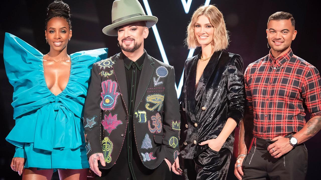 The Voice will not air on Channel 9 next year. It is unclear whether judges Kelly Rowland, Boy George, Delta Goodrem and Guy Sebastian will move to Seven. Picture: Supplied.
