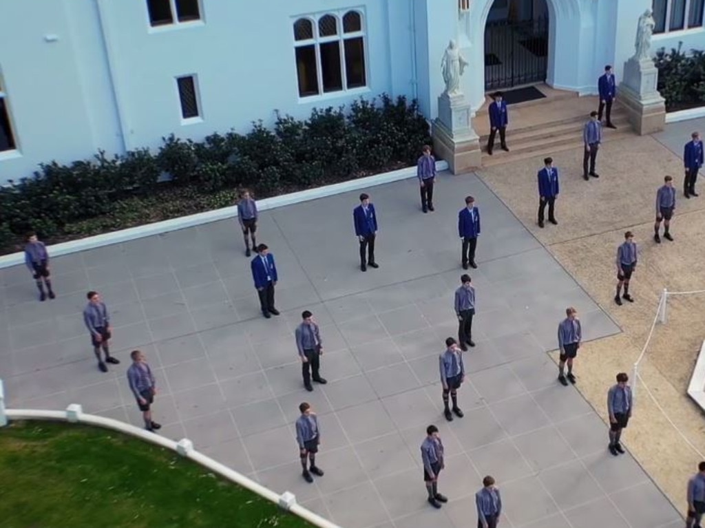 "Marist College Ashgrove's Performance Choir has shown its answer to social distancing by recording an awe inspiring 70 boy performance of ""High Hopes"" in front of the schools Tower Block. Picture: Supplied"