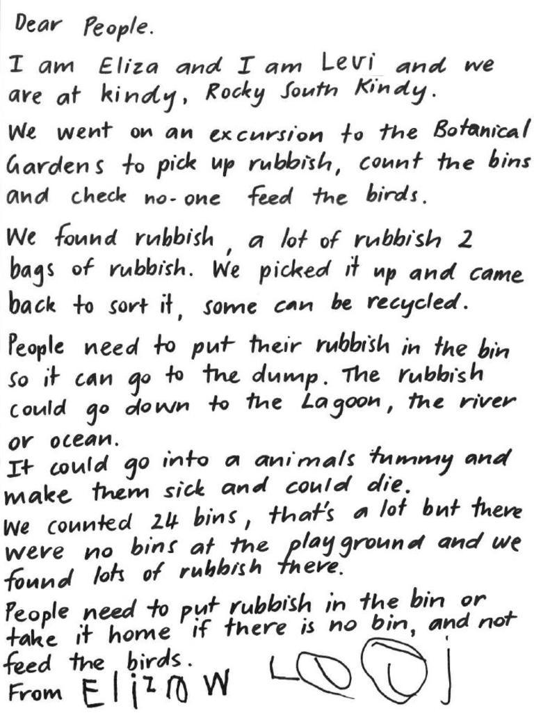 Eliza's letter to Rockhampton residents.