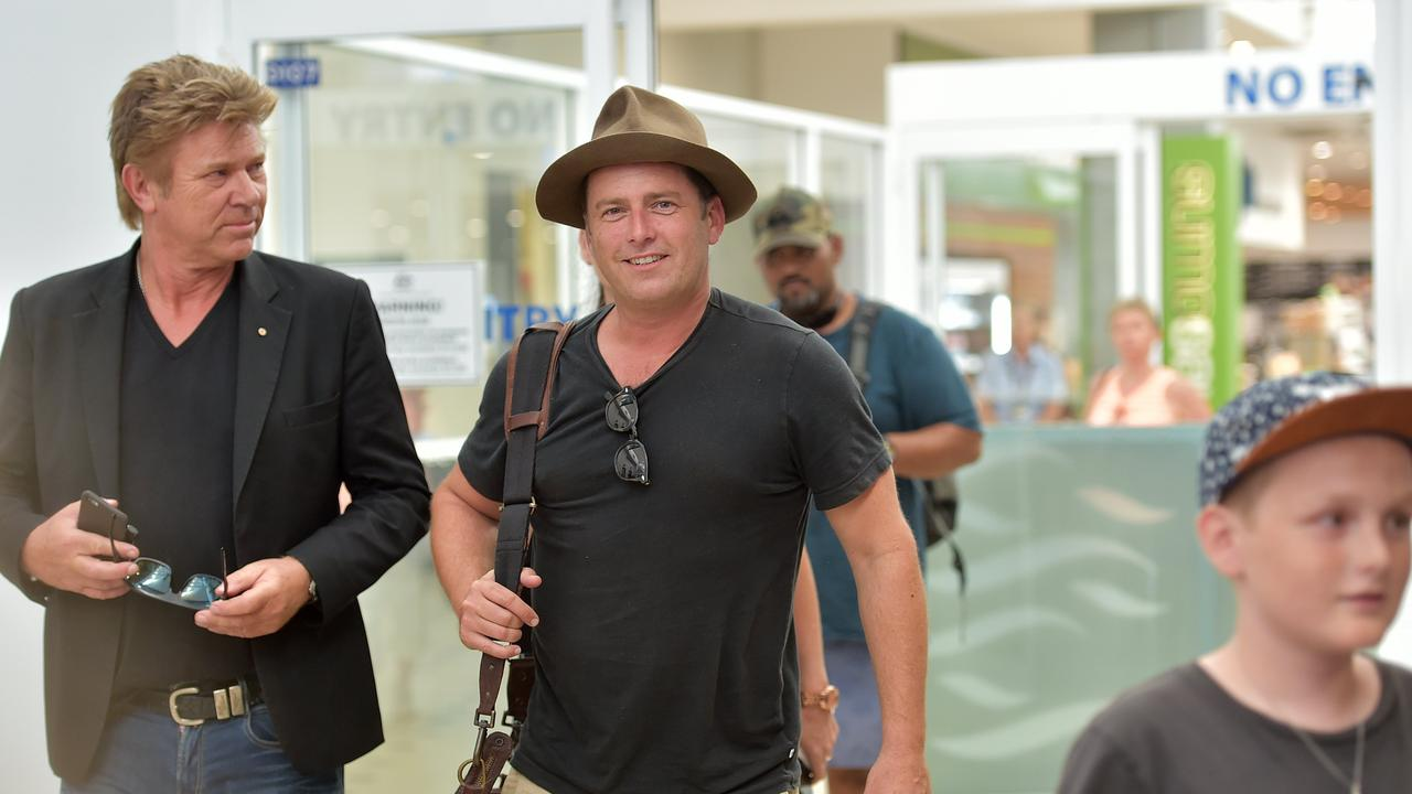 The Today Show cast members Karl Stefanovic, right, and Richard Wilkins arrive at the Sunshine Coast Airport. Photo: Warren Lynam / Sunshine Coast Daily