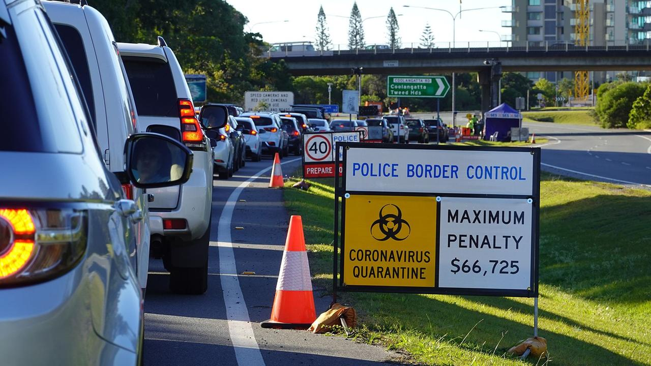 Border controls entering Queensland from NSW.