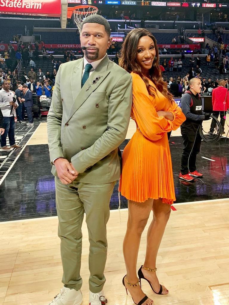 Taylor with ESPN colleague Jalen Rose.