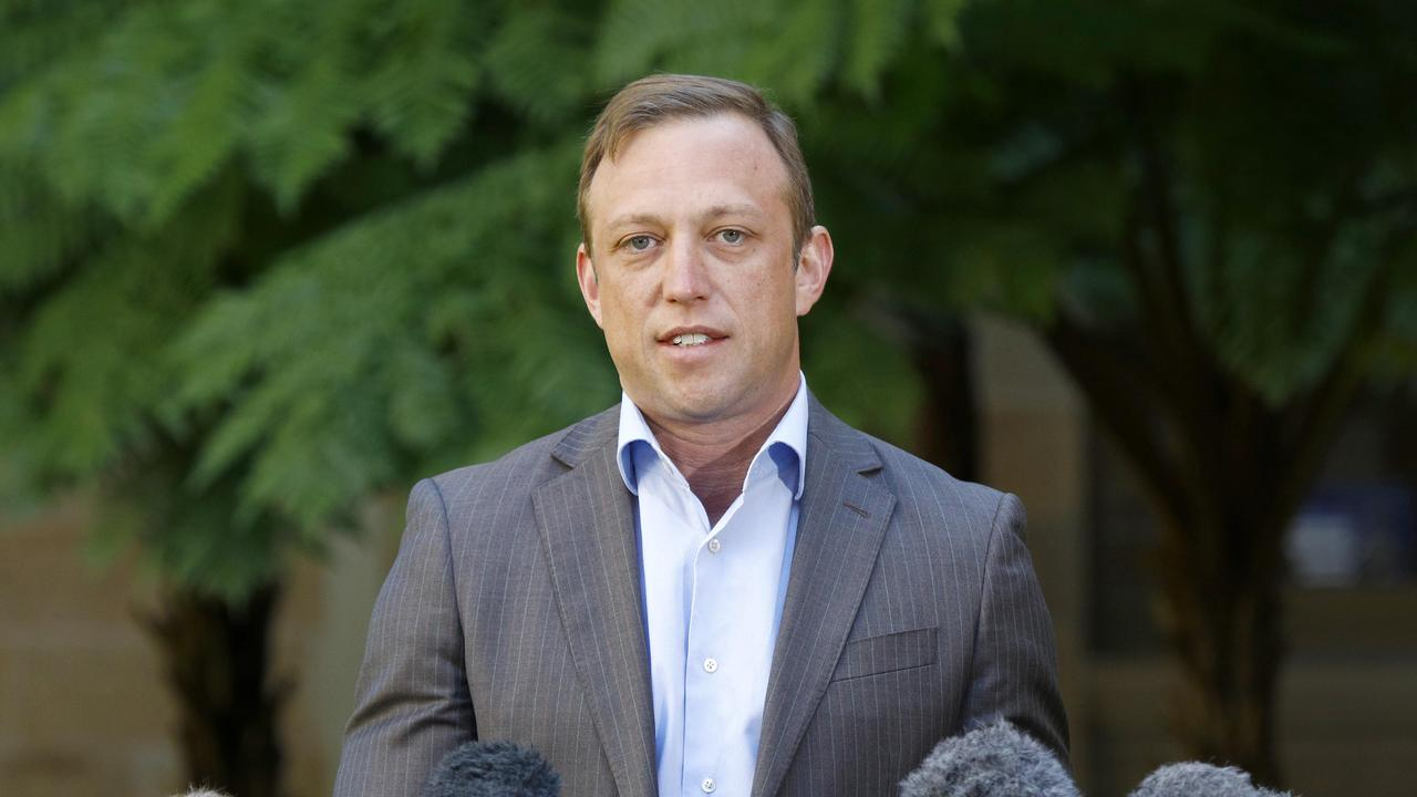 Deputy Premier of Queensland Steven Miles addressed media this morning confirming restrictions will ease across the Darling Downs Health region. Picture: NCA NewsWire/Tertius Pickard