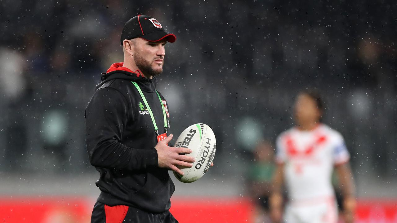 SYDNEY, AUSTRALIA - AUGUST 14: Dragons assistant coach Dean Young looks on before the round 14 NRL match between the Parramatta Eels and the St George Illawarra Dragons at Bankwest Stadium on August 14, 2020 in Sydney, Australia. (Photo by Mark Kolbe/Getty Images)