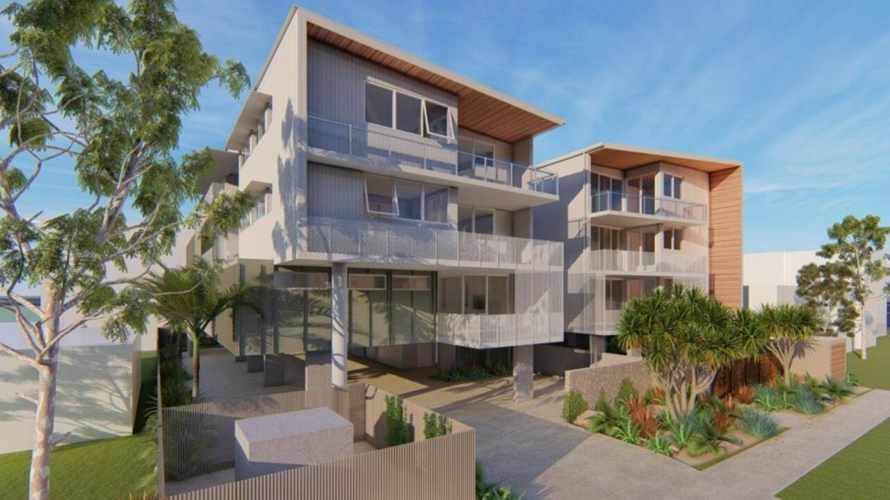 Another 20-unit apartment building with ground floor parking has been proposed for Wright St, Maroochydore by Barradise Pty Ltd. Picture: OGE Group Architects