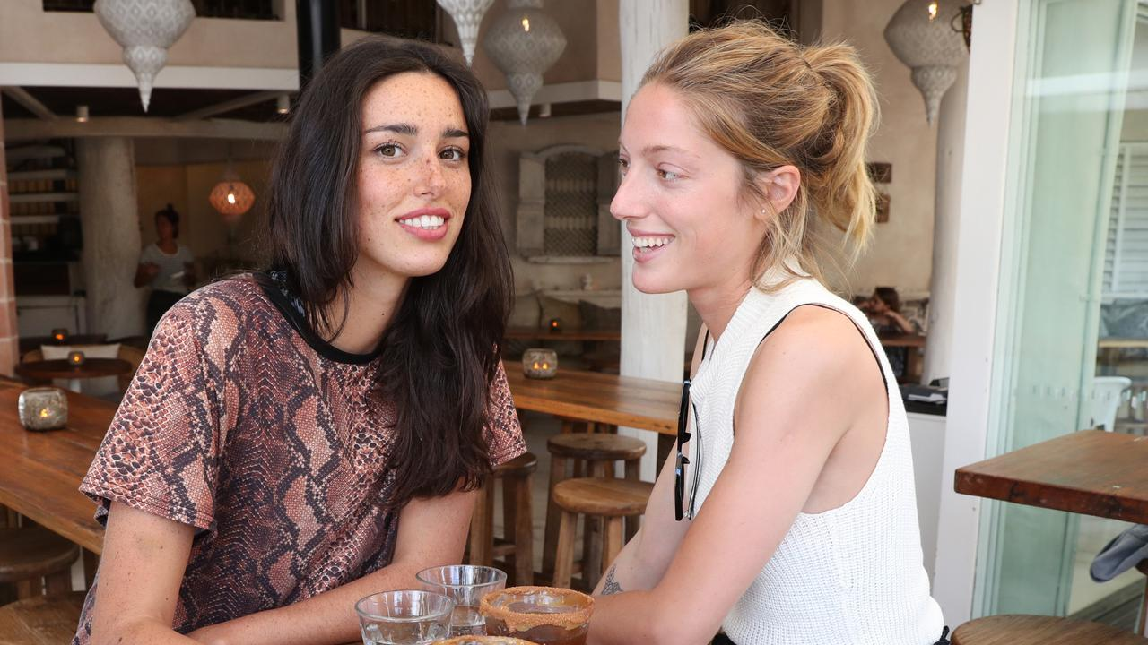 Pictured at Mez Club Cafe and restaurant in Byron Bay is Chiara Sieburger and Camila Baxter. Picture: Richard Dobson