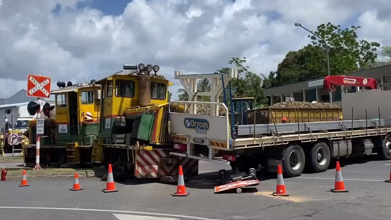A train and truck have collided in Mossman. PHOTO: Mark Murray