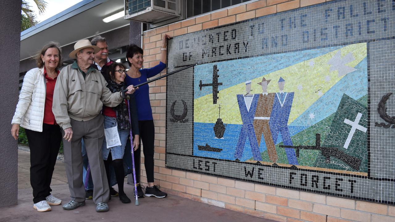 Mackay War Memorial Pool Community Action Group committee members (from left) Carol Single, Jane Conlon, Sue Willett, Graham Townsend and VC recipient Keith Payne (front) at the Memorial Swimming Centre after it received state heritage listing. Picture: Heidi Petith