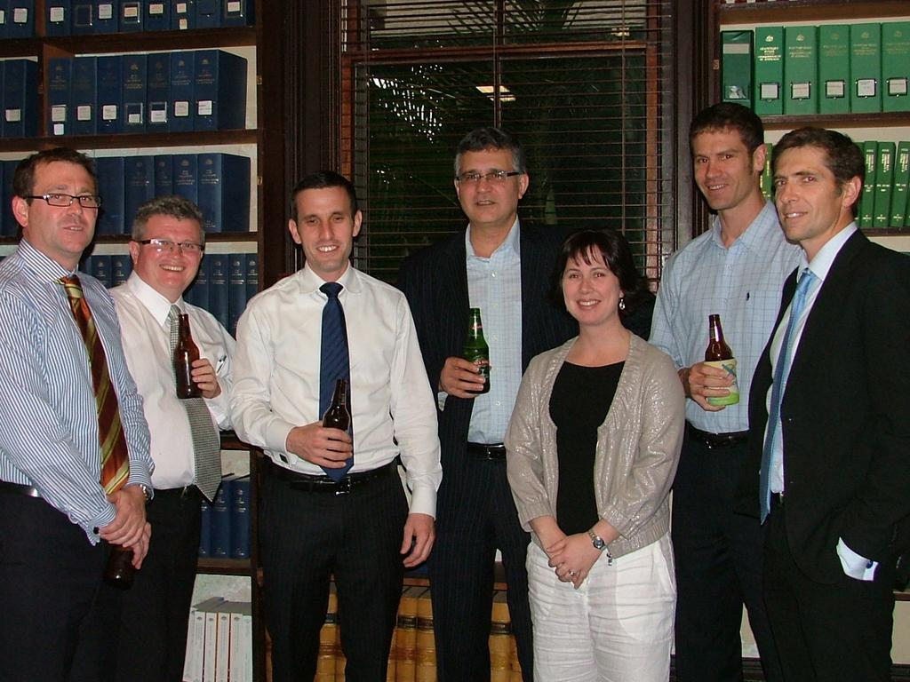 Barristers at Rockhampton's Old Supreme Court Chambers in about 2010. From left: New district court Judge Jeff Clarke, Tony Arnold, Jordan Ahlstrand, Ross Lo Monaco, Maree Willey, Tom Polley and Supreme Court's Justice Graeme Crow. Photo by: JENNY LIGHTFOOT