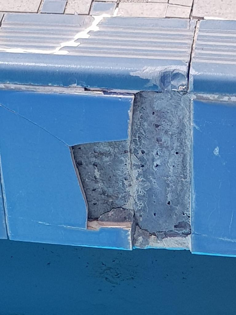 The blue tile Mrs Single said was reported to Mackay Regional Council for replacement.
