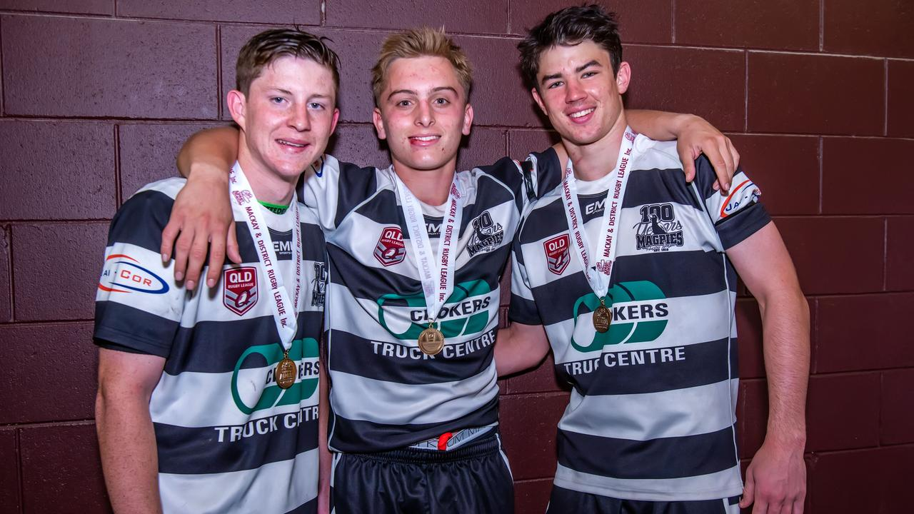 Bailey Black, Toby Thorburn and Hugh Arthur all took to the field to help the Under-19 Magpies team break a 25-year premiership drought, just a day after they won the Under-17 competition.